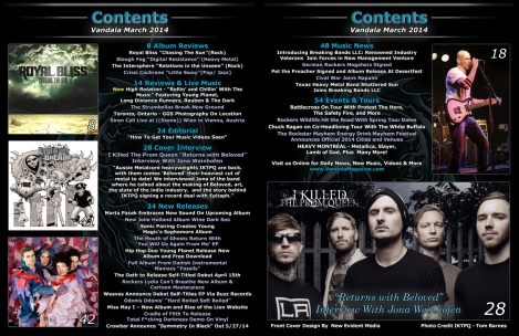 March 2014 Vandala Magazine Contents