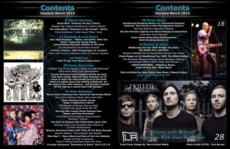 March 2014 Vandala Magazine Contents