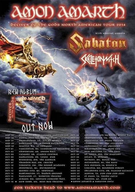 Amon Amarth, Skeletonwitch, Sabaton Fall Tour