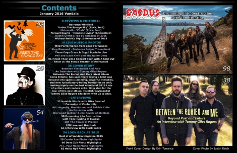 January 2016 Vandala Magazine Contents