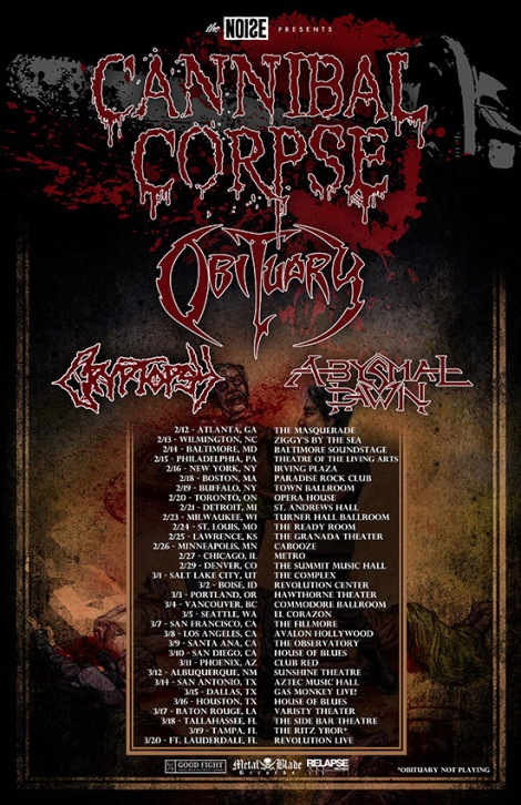 Cannibal Corpse, Obituary, Cryptopsy, and Abysmal Dawn for 2016 North American Tour