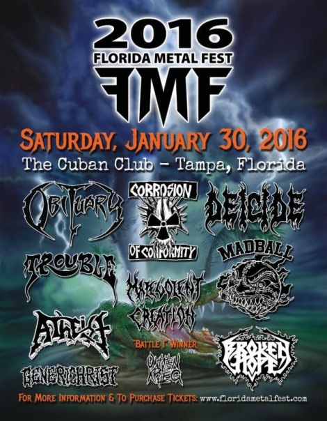 First Annual Florida Metal Fest, Forged By Obituary's John And Donald Tardy, To Commence January 30th, 2016