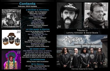 February 2016 Vandala Magazine Contents