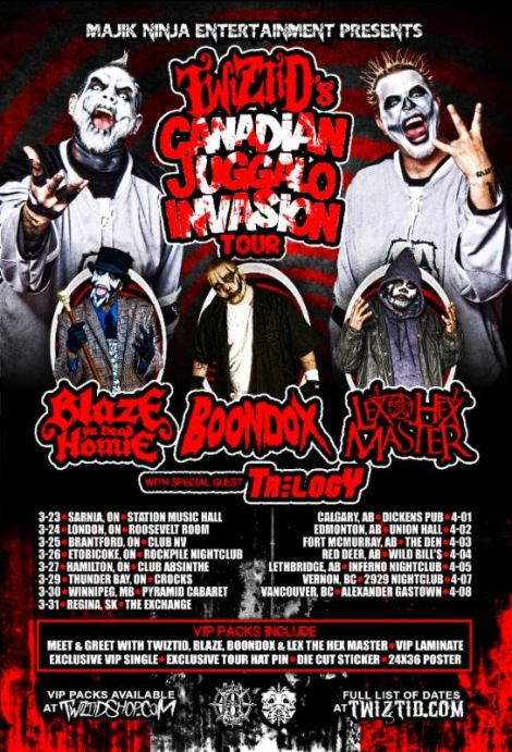 TWIZTID The Juggalo Invasion Canadian Tour with Blaze, Boondox, and Lex The Hex Master