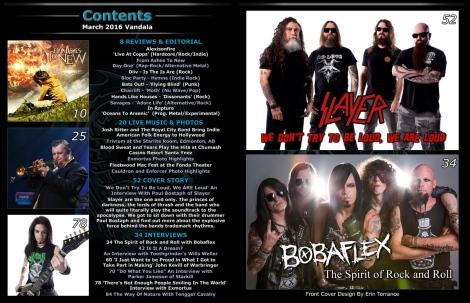 March 2016 Vandala Magazine Contents