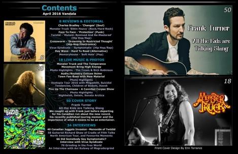 April 2016 Vandala Magazine Contents