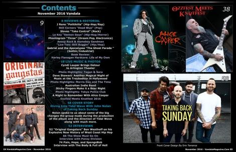 November 2016 Vandala Magazine Contents